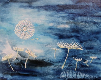 "Original Gouache Painting - ""Seed Moon"""