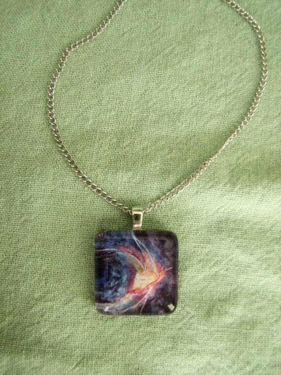 "Glass Tile Pendant - Print of Gouache Painting ""Shines Like Silver"""