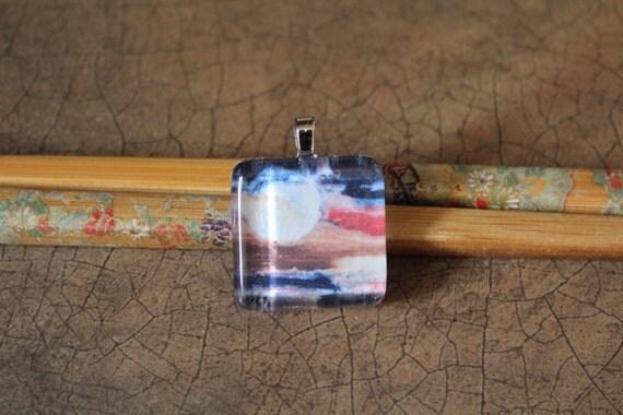 """Glass Tile Pendant - Print of Gouache Painting """"Daybreak III"""""""