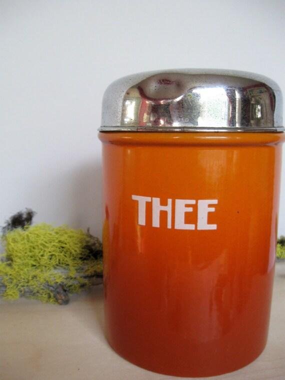 Vintage Dutch tea for thee enamel tin