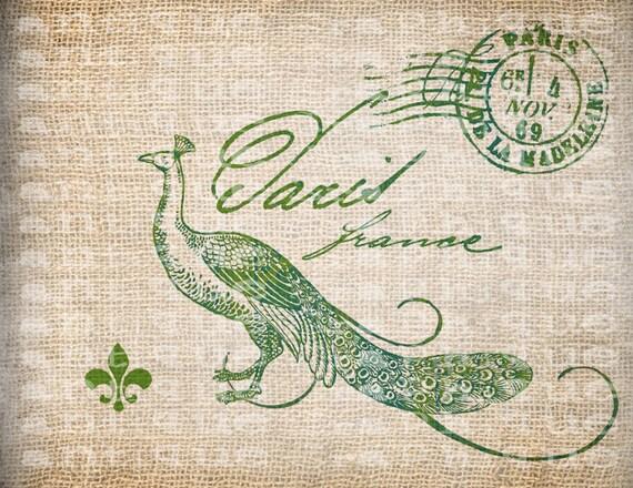 Antique Teal Lime Paris Peacock Crown Postmark Fleur de Lis French Digital Download for Papercrafts, Transfer, Pillows Burlap No 3789