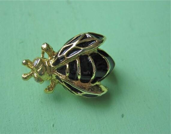 Bumblebee Brooch Black Gold Tone Rhinestones Vintage