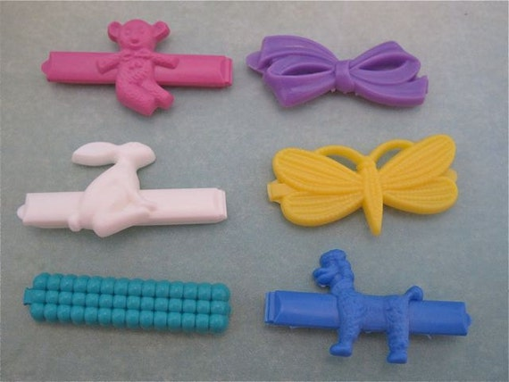 LAST SET Vintage 1980s Goody Barrettes Hair Clips Pastel Rainbow Animals