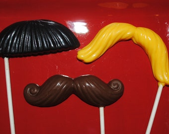 Chocolate Mustache Lollipops