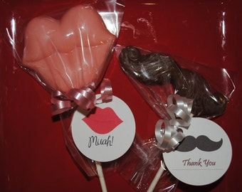 His and Her Wedding Favors Chocolate  Lollipops