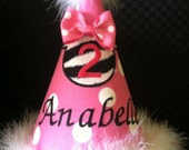 Gorgeous minnie mouse birthday hat (available pink and red)