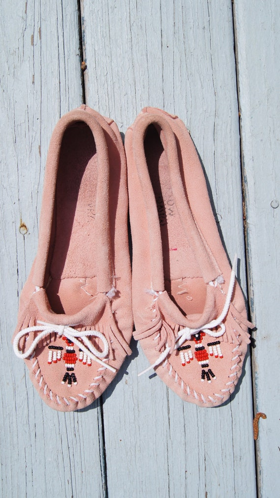 Pink Suede Minnetonka Moccasins in size 8