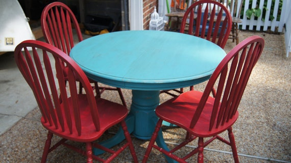 Turquoise Pedestal Table And 4 Red Chairs By Chippedgreenchair Red And Turquoise  Furniture