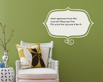 Stylish Memo, Dry Erase Wall Decal, Dry Erase Wall Notes, Framed Dry Erase Decal - by Simple Shapes