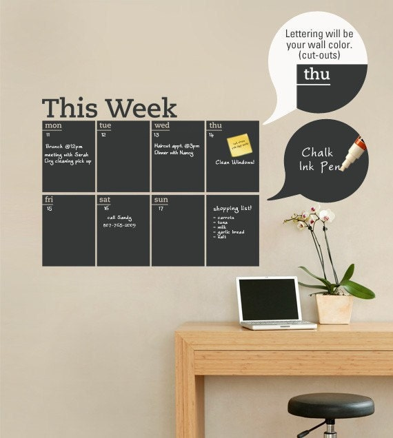 Weekly Planner Decal - Chalkboard Decal - by Simple Shapes