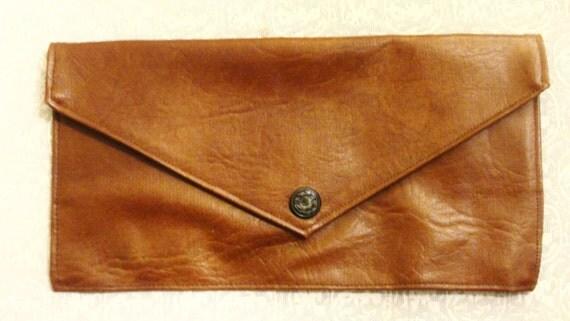 Vintage 70s Brown Envelope Clutch