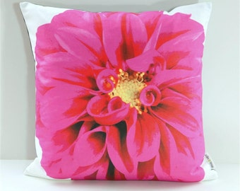 Garden Flowers Pillow Cover: Hot Pink Dahlia