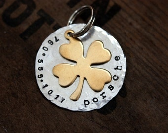 Pet ID Tag Lucky Clover Dogs Cats Shamrock