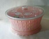 Vintage Sewing Box, Pink Plastic