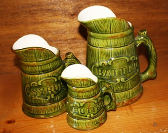 Breakfast Pancake or Waffle Pitcher Set, Green Ceramic Batter, Syrup and Butter Serving Pitchers