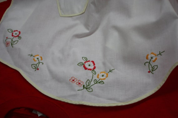 Vintage Half Apron, White  with Embrodiery  and Yellow Trim.