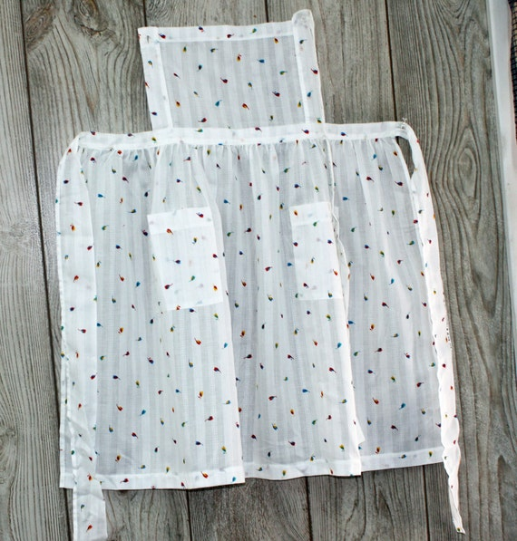 Vintage White With Small Red and Blue Flowers Full Apron