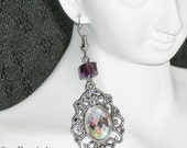 """Silver Tone Dangle Earrings with Aurora Borealis Cabachons and Purple Opalite Swarovski Cubes - ROMANCING THE STONE"""""""