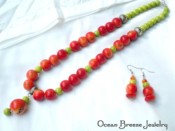 "Limestone Apple Coral and Green Coral Bead Necklace  -  ""AMBROSIA"""