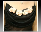Formal Black Dress Pink Roses Wedding Prom Homecoming Bridal Shower Ready to Ship - web4soleil