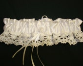SALE Wedding Garter Victoria Satin Ivory White Stretch Lace Bridal With Classic Pearls Silver Lace