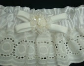 SALE Wedding Garter White Ivory Satin Handmade Accent Accessories Rose Flower Lace Bow Bridal Shower Gift