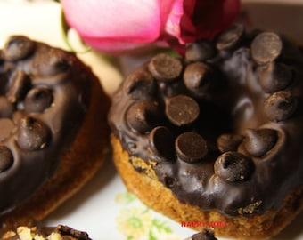 Vegan Gluten free Vanilla  Chocolate Chip donuts,  love, animal free cruelty,no eggs,no dairy.