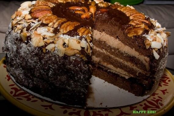 Vegan German Chocolate pecan coconut cake, love, animal free cruelty,no eggs,no dairy.