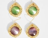 Two Pairs Of Colorful 18k Gold Plated Faceted Cabochon Earrings