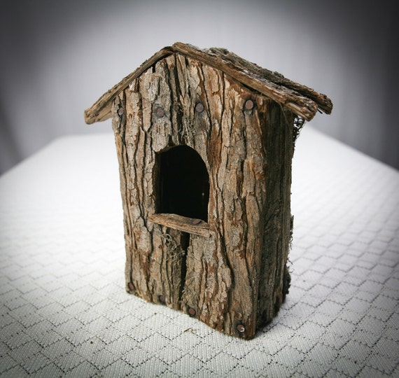 Reserved Birdhouse Made Of Tree Bark Ready For Decorating Or