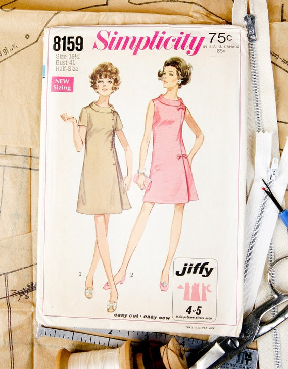 RESERVED, Misses Size 18 1/2, A-Line dress w/ left front pleated seam & back zipper, 1960's Simplicity (8159) Vintage Sewing Pattern
