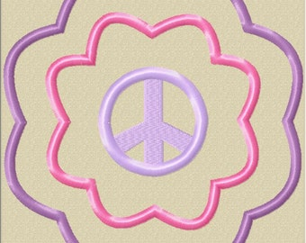 INSTANT DOWNLOAD Flower Peace Symbol Machine Embroidery Applique Design- Satin Design