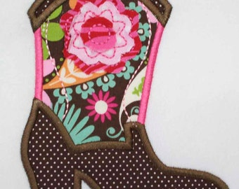 INSTANT DOWNLOAD Frayed Flower Cowgirl Boot  Machine Embroidery Applique Design in both Vintage Stitch and Satin Stitch