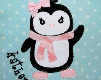 INSTANT DOWNLOAD Winter Ice Skating Penguin Machine Embroidery Applique Design