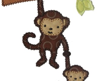 INSTANT DOWNLOAD Monkey and Baby on a Branch  Machine Embroidery Applique Design
