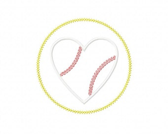INSTANT DOWNLOAD Sweet Heart Baseball Circle Patch Machine Embroidery Applique Design- Satin Design