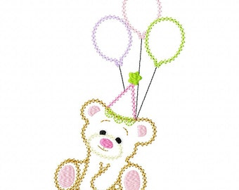 INSTANT DOWNLOAD Sweet Little Birthday Bear Machine Embroidery Applique Design