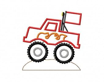INSTANT DOWNLOAD Monster Truck Machine Embroidery Applique Design