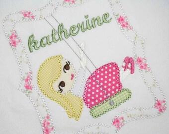 INSTANT DOWNLOAD Little Girls Summer Swing Machine Embroidery Applique Design