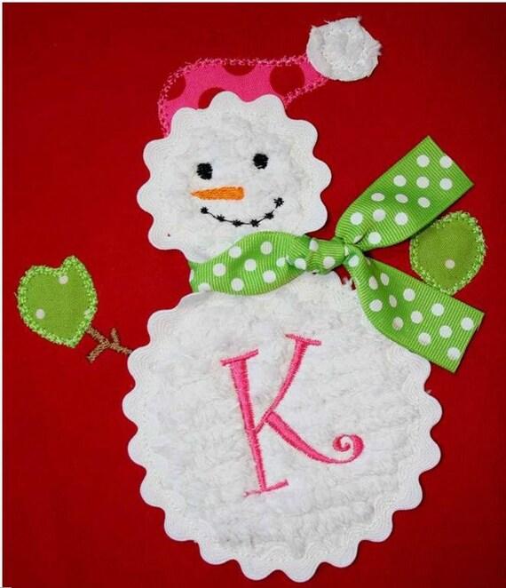 INSTANT DOWNLOAD Snowman Machine Embroidery Applique Design