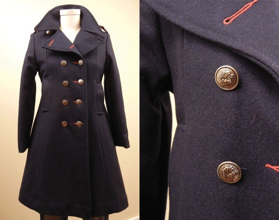 Navy Military Pea Coat | Down Coat