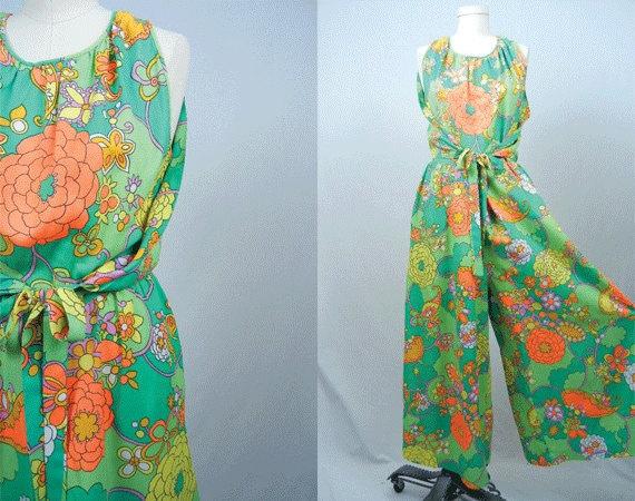 Vintage Hawaiian Jumpsuit Maxi Dress Aloha Luau 1970s Lime
