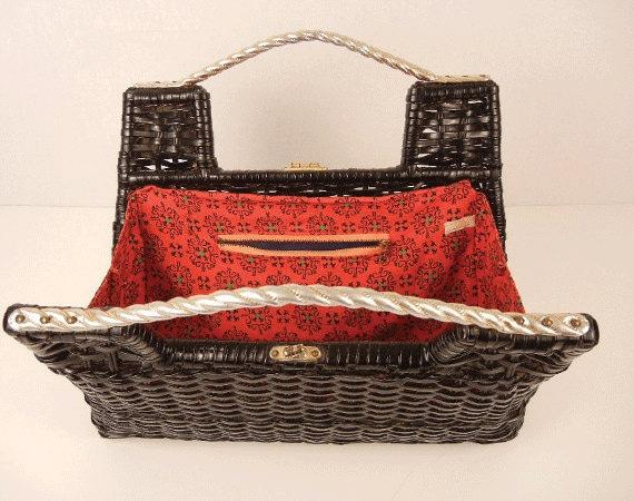 Vintage 1950s Wicker Handbag / Black Basket Weave Bag with Red Lining and Silver Hardware