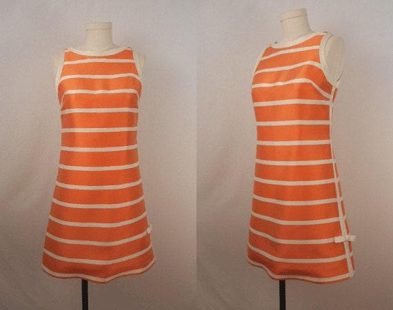 Vintage 1970s Silk Dress / Orange and Cream Stripe Mini Dress
