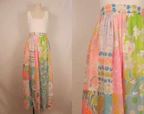 Vintage Maxi Skirt / 1970s Sheer Patchwork Floral Print Long Skirt