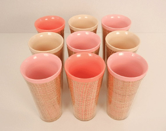 Vintage 1950s Raffiaware / Set of 9 Drinking Cups Glasses Pink, Coral, Beige