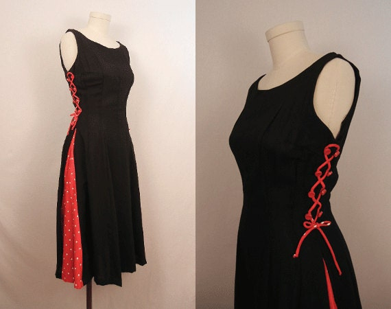 Vintage 1950s Dress / Fitted Black Dress with Red Polka Dot Inset and Lacing