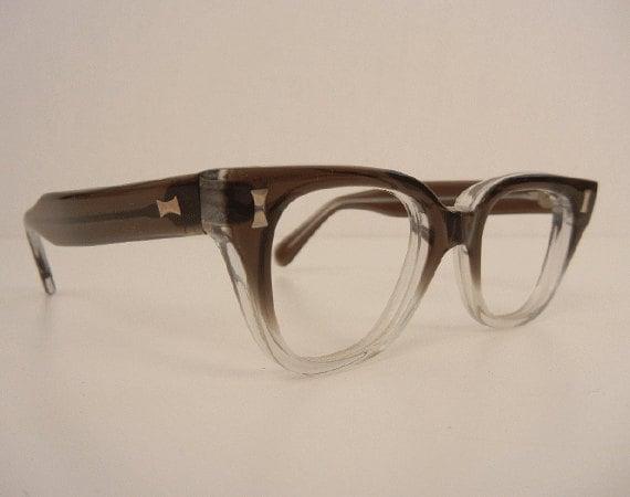 Vintage 1950s Eyeglass Frames / New Old Stock Grey Transparent Fade Horn Rim Glasses