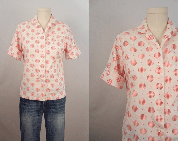 Vintage 1960s Blouse / Red and White Polka Dot Shirt with Matching Head Scarf