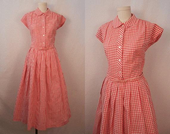 Vintage 1950s Dress / Red Gingham Check Summer Day Dress Large